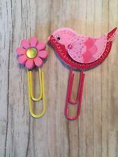Pink Bird Flower Planner Clips Paper Clip Bookmarks Handmade Spring