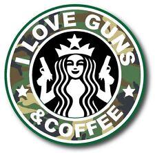 "I Love Guns And Coffee Camo Starbucks Funny Car Bumper Vinyl Sticker Decal 3.5"""