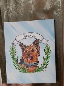 Folk Art Vintage Primitive Yorkie Yorkshire Terrier Oil Painting Signed Portrait