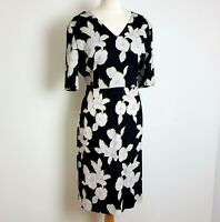 Paul Smith Midi Dress UK 16 Black Floral Fitted Pencil Black Label 100% Silk