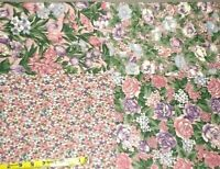 fabric pink purple green block print floral 2 yards sewing quilting Country Side