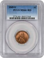 1949 S 1C Lincoln Wheat Cent PCGS MS66+ RD Gem Uncirculated Coin