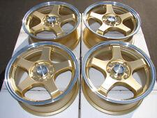 15 4x114.3 4x100 gold Wheels Fits Integra Accord Miata Elantra Civic Galant Rims