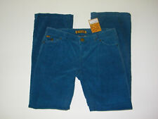 Pants New Sz 7 womens juniors Empure Teal Blue Lowrise Corduroy Distressed