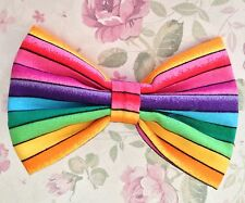 "NEW SMALL 3"" MULTICOLOUR RAINBOW STRIPE RETRO STYLE COTTON FABRIC BOW HAIR CLIP"