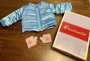 American Girl Doll Clothes PUFFY JACKET Winter Blue And Coat Gloves