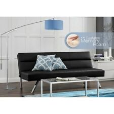 Memory Foam Faux Leather Futon Sofa Bed Lounger Sleeper Couch Black