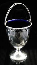 Silver Sugar Basket & Blue Glass Liner, Birmingham 1926, Wilson & Sharp