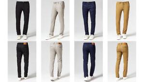 Mens Chinos Trousers Desginer Cotton Slim Jeans Regular Straight Stretch Waist