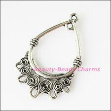 6Pcs Antiqued Silver Tone Teardrop Flowers Charms Pendants Connectors 23x37.5mm