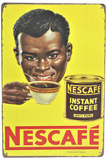 "Retro 12"" Vintage-Style Distressed Nescafe Instant-Coffee Metal Wall Sign Plaque"