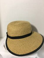 Cappelli Womens Hat Sun Protection Wide Brim Gold Straw Black Trim One Size
