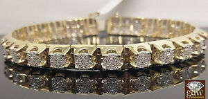 "Real 10k Yellow Gold Mens Tennis 9"" Bracelet with Real Diamonds, Crown ,Unique."