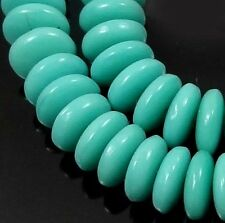 50 Czech Glass Rondelle Beads - Opaque Turquoise 6x2mm