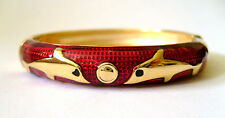 ROUND ENAMEL BANGLE WITH SPRING CLASP OPENING - BURGUNDY DOLPHIN IN GIFT BOX