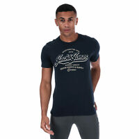 Mens Jack Jones Mens Logo Blue Crew T-Shirt in Navy - S