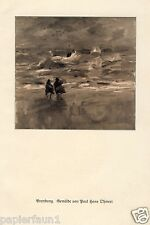 Brandung Kunstdruck von 1925 Paul Hans Ohmert Sulecin Zielenzig Meer Sturm Boot