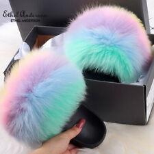 Ethel Anderson Real Fox Fur Slides New Colors Slippers Flip Flops Beach Sandals