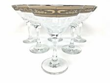 Crystal Glass Set of 6 Martini Champagne Wine Glasses 6oz Platinum Rimmed Design