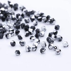 200pcs 3mm  Glass Crystal Bicone beads Black half silver DIY Jewelry making
