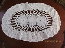 Vintage Large Handmade White Cotton Oval Estate Lace Crocheted Doily