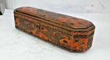 VINTAGE handmade Wooden Ambuz drigan Painted pen/pencil Box 6 compartment