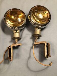 Vintage FORD Hall Fog Driving Lamp Lights Hot Rat Rod 1938 1939 1940 1941 1942