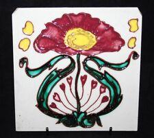 """Antique longwy majolique art nouveau tubelined 6"""" tile"""