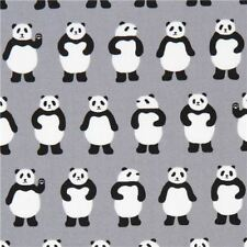 Little Panda on Grey  By The yard cotton print Robert Kaufman