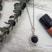 Essential Oil Diffuser Necklace Pendant Silver Lava Stone
