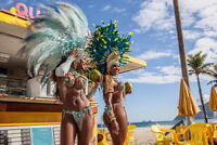 Samba Dancers in Costume with Coconut Drinks Photo Art Print Poster 18x12 inch