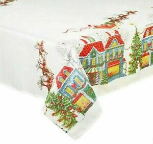 """Christmas Village Fabric Tablecloth Jacquard Textured Printed  60x84"""" Oblong"""