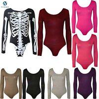 Womens Halloween Bodysuit Long Sleeve Basic Stretch Top lot party Skeleton 8-14