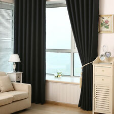Two Blockout Drapes Panels Home Solid Thick Heavy Window Curtain Grommet Pleated