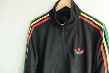 Adidas Originals tracksuit jacket black Rasta stripes M Red Green Yellow Rare