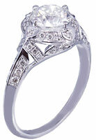14k White Gold Round Forever One Moissanite and Diamond Engagement Ring 1.75ct