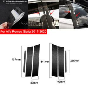 For Alfa Romeo Giulia 2017-2020 6Pcs Real Carbon Fiber Window Pillar Cover Trims