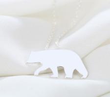 Nuevo Hermoso Collar De Plata Tono Oso Polar, vendedor de Reino Unido