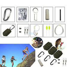 Survival Kit Paracord  Fire Starter Hiking Gear Fishing Tools Kit Army Green