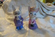 "Vintage Mr & Mrs Rabbit Paper Mache Bunny Couple 7"" Tall 1970's? Cute For Spring"