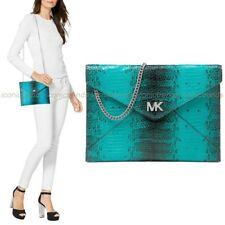NWT 🐳 Michael Kors Barbara Leather Medium Envelope Clutch Crossbody Tile Blue