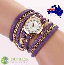 LADIES WRIST WATCH - WEAVE WRAP STYLE - CRYSTAL BRACELET FASHION WATCH - PURPLE