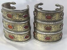 Antique Turkmen/Turkoman Tribal STERLING SILVER 925 Bracelet Cuffs