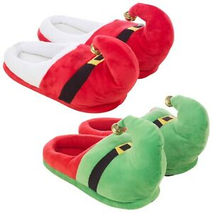 Novelty Christmas Unisex Adult Elf or Santa Xmas Design Slippers With Bell Plush