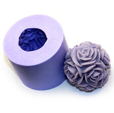 3D Big Rose Flower Ball Candle Mold Soap Mould Flexible Silicone Mold LZ0105
