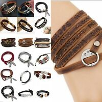 Women Men's Multilayer Leather Handmade Rope Wristband Anchor Bangle Bracelet
