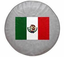 """15"""" SPARE TIRE COVER MEXICAN FLAG GREY HEAVY DUTY VINYL TIRE COVER"""