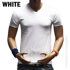 Men's V-Neck Plain T-Shirt Slim Fit Muscle Tee Casual Solid Basic S-3XL Cotton