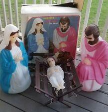 Vintage Empire 4pc Joseph Mary & Baby Jesus Holiday Blow Mold Lighted Set