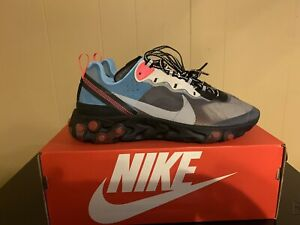 Nike React Element 87 Solar Red Blue Chill AQ1090-006 Running Shoe Size 10